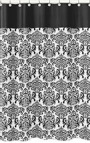 black and white isabella kids bathroom fabric bath shower curtain to enlarge
