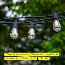 Solar Powered Retro Style String Light Bulbs Ambience Pro Solar 1w Waterproof Led Outdoor Solar String Lights 27 Or 48 Ft
