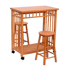 Rolling Kitchen Island Table Homcom Rolling Kitchen Island Trolley Cart Storage Table Stools