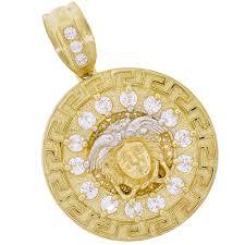 real 10k two tone gold simulated diamond medusa medallion pendant mens las