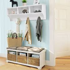 costway hanging entryway cubbie storage shelf wall mount coat rack w hooks white 0