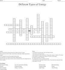 Different Types Of Energy Crossword Wordmint