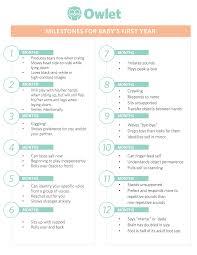Developmental Milestones First Year Chart Milestones For Babys First Year Owlet Blog