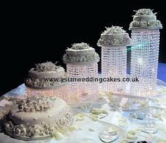 crystal cake stand wedding 5 tier spiral in royal icing decor white and silver style placed crystal cake stand
