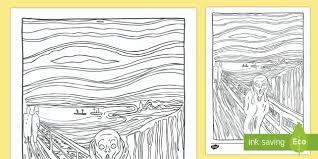 the scream coloring sheet. Plain Scream The Scream By Edvard Munch Lithograph Colouring Sheet  The Scream Edvard  Munch Paint Intended Coloring S