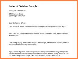 collection agency remove from credit report letter of deletion sample 179 0