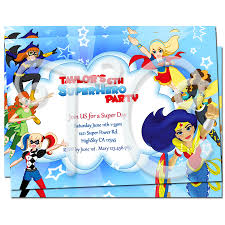 superheroes birthday party invitations dc superhero girls personalized invitations