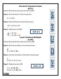 Greatest Common Factor Chart Printable
