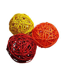 Wicker Balls For Decoration Unique Three Wicker Decor Balls Red Orange Yellow Red Acacia's Again