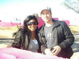 connecticut makeup artist brandy gomez duplessis and brad pitt on set in new orleans