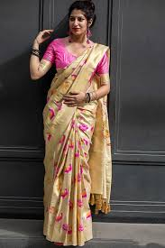 Designer Kanjeevaram Sarees Cream Kanjivaram Art Silk Saree
