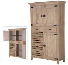 Kitchen Cupboard Storage Distressed Pine 200cm Tall Multi Storage Kitchen Cupboard