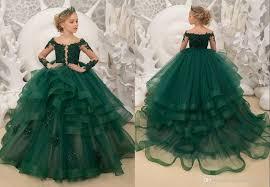 <b>2019 Sexy Dark Green</b> Long Sleeves Ruffles Little Girls Pageant ...