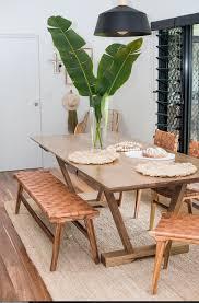 loft woven leather bench seat tan
