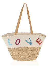 women s straw bag with leather handles and sequin embroidery