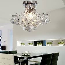 loco chrome finish crystal chandelier with 3 lights mini style flush mount ceiling light fixture for study room office dining room bedroom
