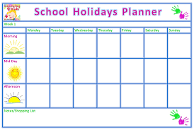Holiday Planner Template Free Printable School Holiday Planner Learning 4 Kids
