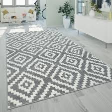 Ethno Teppich Rauten Muster Grau Weiß