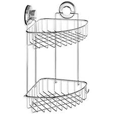 stainless steel corner shower caddy. Contemporary Corner HASKO Accessories  Suction Cup Corner Shower Caddy  304 Stainless Steel  Polished Chrome Shelf 2 In A