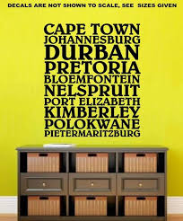 cities of south africa wall art sticker vinyl decal various sizes on wall art vinyl stickers south africa with cities of south africa wall art sticker vinyl decal various sizes