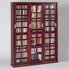 leslie dame 4 door glass cd dvd wall media storage cabinet dark cherry com