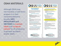 Osha Cold Stress Chart Cold Stress Getting The Job Done A Safe Worker Is A