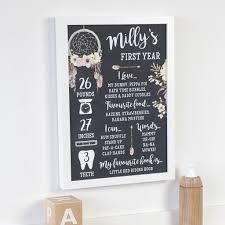 personalised chalkboard baby first birthday print