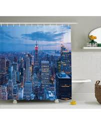 landscape shower curtain sunset in nyc photo print for bathroom
