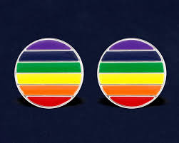 <b>Round</b> Gay Pride <b>Rainbow</b> Stud Earrings <b>1 Pair</b> of Earrings | Etsy