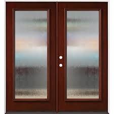 privacy glass full lite mahogany
