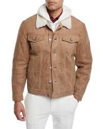 brunello cucinelli men s shearling fur lined leather trucker jacket
