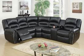photo of black leather reclining sectional sofa with gorgeous