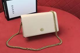 gucci 497985 gg marmont leather mini chain bags white