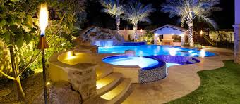 custom landscape lighting ideas. Swimming Pool, Raised Spa, Swim-Up Bar, Slide, Grotto, Water Custom Landscape Lighting Ideas E
