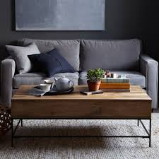 Furniture, Brown Rectangle Wood And Metal Rustic Storage Coffee Table Ideas  To Complete Living Room