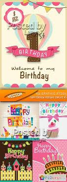 Stock Vector Happy Birthday Postcard Template 45 Free