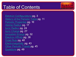 PERIODICITY. Table of Contents Electron ConfigurationsElectron ...