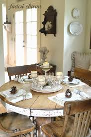 Kitchen Table Setting Table Setting A Round Rustic And Cottage Tablescape Is So