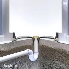 install shower in basement how to install a fiberglass base over concrete family handyman com how to install a shower in basement bathroom how to install a