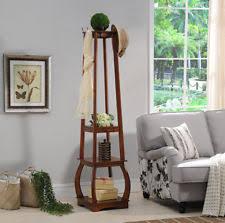Traditional Dark Walnut Finish Wood Coat Rack Coat Rack with Shelf eBay 55