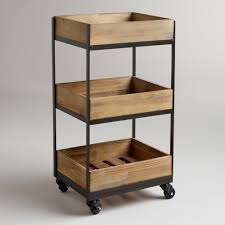our 3 shelf wooden gavin rolling cart features a crate look and casters so that