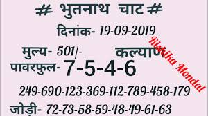 Bhutnath Chart 17 09 2019 To 19 09 2019 Bhutnath Chart For Kalyan