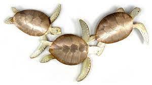 metal wall art sea turtles coastal