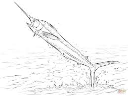 Small Picture White Marlin Jumping out of Water coloring page Free Printable