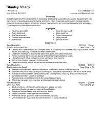 retail parts pro resume sample parts of a resume