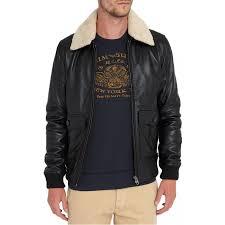 men s er black leather fur collar jacket zoom men s
