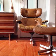 Eames Chair With Ottoman Mid Century Modern Brown Leather Lounge Chair And Ottoman By