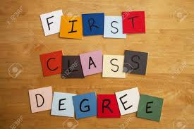 First Class Degree FIRST CLASS DEGREE Written On Color Tiles For University 18