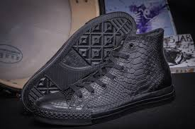 converse alligator black leather limited edition high tops shoes mens