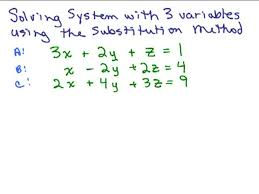 system of equations with 3 variables